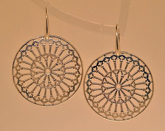 Silver earrings with rose window of the Cathedral of San Giusto in Trieste