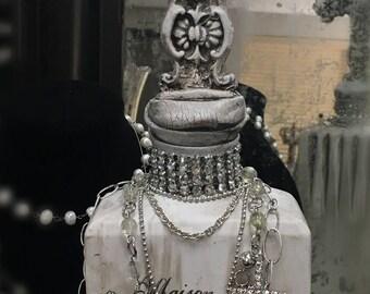 Decorative cross bottle, antique white