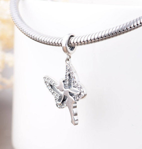 Disney Tinkerbell Charm, Delicate Silver Jewellery, Ballerina Pendant, Disney Charms for Bracelet, Fairy Wings Disney Princess