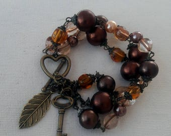 Boho chic beaded strand bracelet with copper heart closure and charms, Gift for her