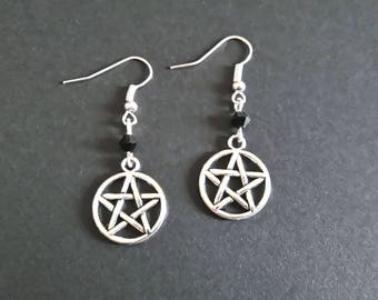 Pentagram Earrings | Pentacle Earrings | Gothic Earrings | Silver Toned | Witch | Witchy | Occult | Grunge