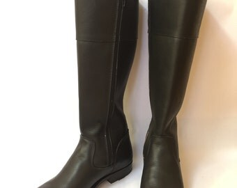 Leather Riding Boots~Knee High Boots~Flat Boots~Classic Knee High Boots~Calf Length Boots~Winter Boots~Custom Boots~Black Leather Boots