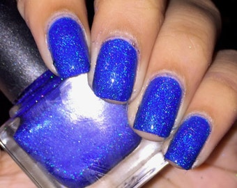 "Blue Holo Nail Polish ""Out of the Blue"""