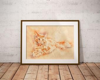 Orange Maine Coon Cat Art Print on Canvas Custom Pet Portrait Customized Cat Painting Watercolor Cat Art Abstract Cat Print Abstract Art