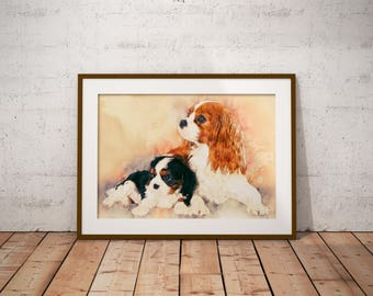 King Charles Spaniel Art Print Big King Charles Cavalier Portrait Watercolor Painting of Puppies Pastel Dog Art on Canvas Dog Giclee Print