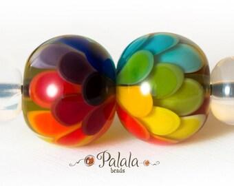 Pair of Lampwork Rainbow Beads,  Lampwork glass beads