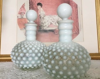 Hobnail Glass, Hobnail Milk Glass, Hobnail Perfume Bottles, Antique Perfume Bottle, Opalescent Hobnail Glass, Antique Cologne Bottle