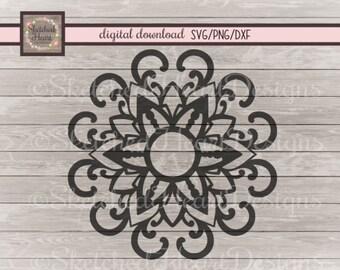 Mandala flower SVG, Frame, Digital cutting file, png dxf, boho, Digital download, Monogram Mandala, Digital clipart,Vector graphic