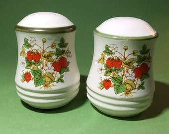 Ceramic strawberry salt and pepper shakers