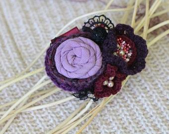 Brooch, brooch flower, trandy brooch wonderful brooch, original brooch, a boho-brooch textile, textile brooch,  fabric flower, Fabric Brooch