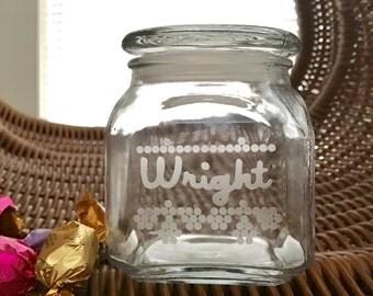 Personalized jar- etched jar- Custom glass jar- candy jars