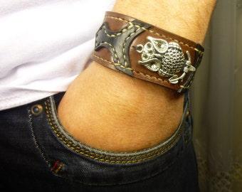 Owl bracelet Brown leather cuff Bracelet for women men Bracelet Gift Cuff Bracelets unisex bracelet leather cuff men Cuff Bracelets men