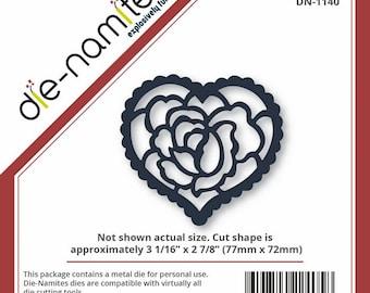 Die-Namites Die - Rose Heart - Valentine's, Weddings, Anniversaries die DN-1140