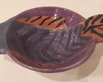 Vintage Fish-Shaped Bowl ~ Cute Cat Food Bowl ~ Handmade Ceramic Cat Dish ~ Artistic Cat Food Bowl ~ Unique Cat Food Dish