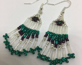 Teal/Purple/Clear Crystal Seed Bead Earrings
