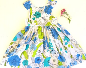 Size 8 Retro Upcycled Vintage Tea Party Dress