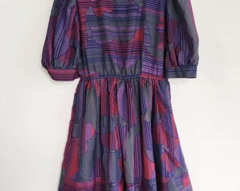 Vintage 1980s Purple Red Navy Grey Cloud Puff Sleeve Dress