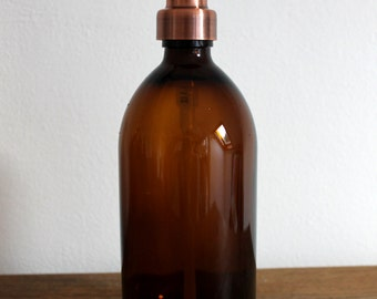 Amber Brown Glass Soap Dispenser Bottle in 250ml, 300ml, 500ml and 1000ml With Stainless Steel Pump