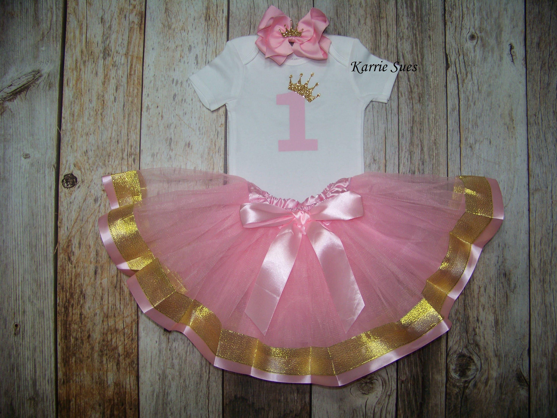 Baby Girls Clothing Dress Tutu Flower Pink 0 2th First Birthday Outfit Gold Onesie Headband Glitter