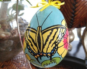 Swallowtail Butterfly Hand Painted Egg