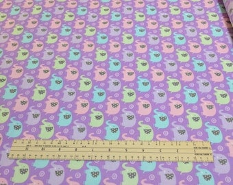 Mini Elephants on Purple Cotton Flannel Fabric (Pattern CF-6547) by Michael Miller