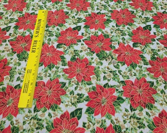 Holiday Editions-Medium Poinsettias Cotton Fabric from Fabri-Quilt