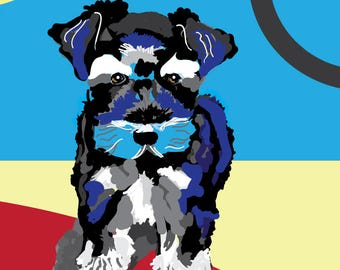 Mini Schnauzer, Schnauzer, Puppy Schnauzer, Miniature Schnauzer, Kid's Room Puppy, Dog Art, Dog Portrait