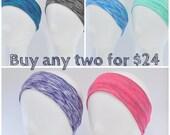 Wide blue lime teal pink black or purple headband,  yoga headband, crossfit headband, workout headband, spacedyed
