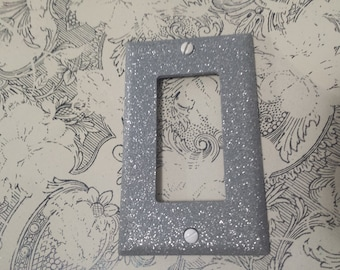 matte gray finish silver glitter decorative bling light switch plates outlet covers - Decorative Outlet Covers