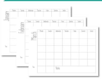 A4 Landscape Yearly Calendar, Cute Font Monthly Calendar, Printable Calendar, Calendar Template, DIY Calendar Planner, Desktop Calendar
