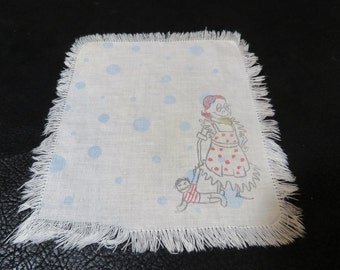 Vintage 1950s Linen Napkin. Very Odd Picture of Girl and Doll. Kind of creepy. Looks a little Tim Burton-ish. Only 1 available