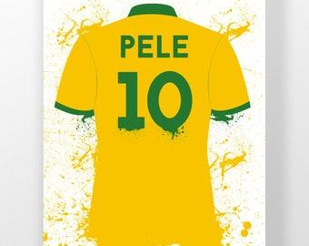 Pele, Brazil 10 Classic Shirt, Fifa World Cup, Football, Sport, Wall Art, Mancave, Gifts, Home Decor (8x10,A4 & A3)