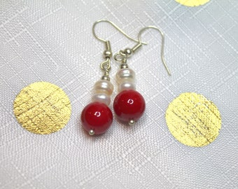 Red coral and freshwater pearl rondeles