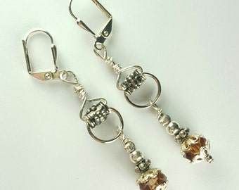 Eclectic silver amber dangle earrings
