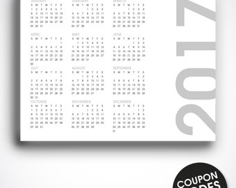 Printable 2017 calendar, 2017 wall calendar, letter size, 2017desk calendar, printable monthly calendar, grey calendar, yearly wall calendar