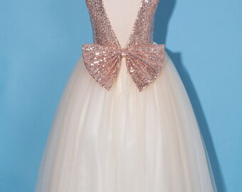 Flower girl dress/Rose gold  sequin flower girl dress/Rose gold pageant dress/rose gold champagne tulle dress/rose gold birthday party dress