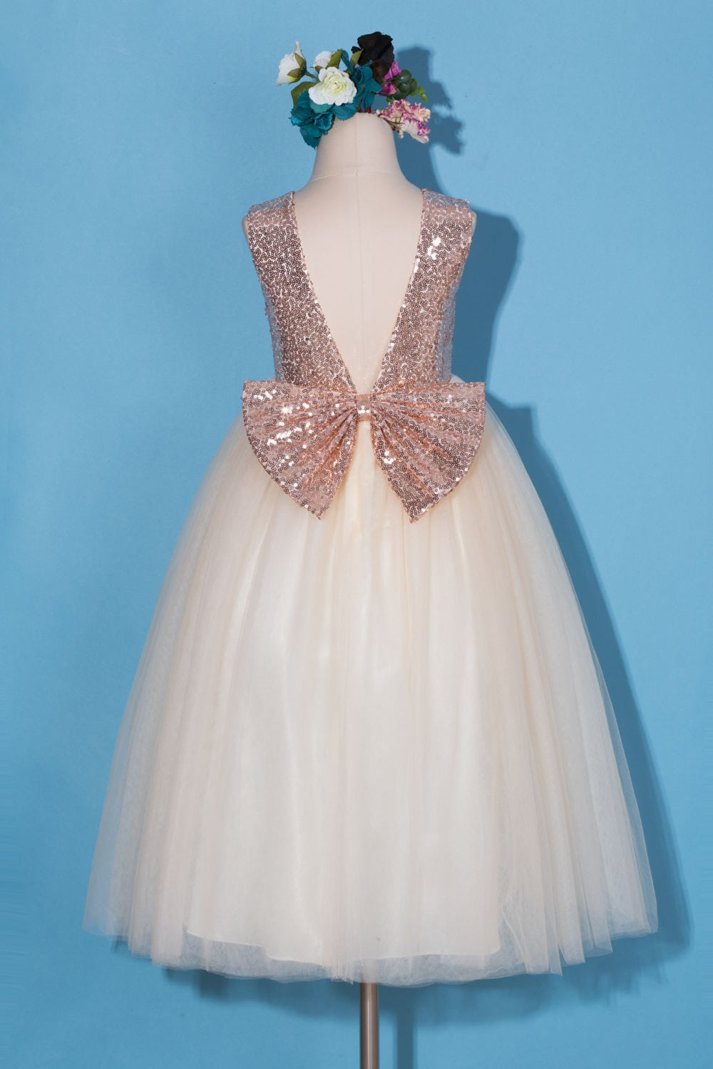 Wholesale bodycon dress rose gold bow flower girls with short