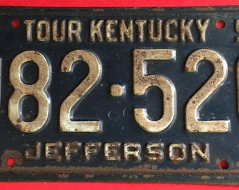 Vintage 1957 Kentucky licence plate, old licence plate, man cave decor