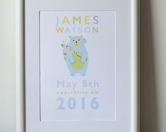 Personalised Baby birth prints A4
