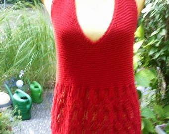 Knit halter top tunic in red, Gr. 36-38 (S-m)