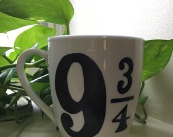 9 3/4 Mug - Tessomancy Grim - Hand Painted Mug - Harry Potter - Hand Painted Coffee Mug - Book Mug - Sarah Reads Collection