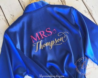 Bridesmaid Robes, Bride Robe, Personalized Robes, Bridal Shower Gift, Personalized Wedding Gift, Glitter Print Robe, Getting Ready Robe