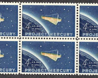 1962 Project Mercury Man in Space Postage Stamps Unused Block