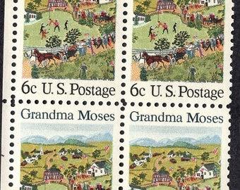 1969 Rural Life Postage Stamps Unused Block Grandma Moses