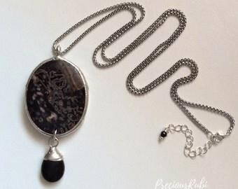 Jasper Pendant - Plum Blossom Jasper - Black Jasper - Silver Solder - Stainless Steel Chain - Birthday Gift