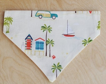 Beach Dog Bandana, palm tree, mod pet gift, slide on bandana, surf board, woody wagon, affordable, pet accessory, cats, dog lover, sail boat