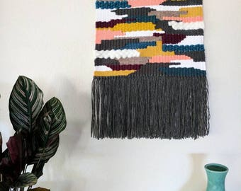 Multi-Colored Woven Wall Hanging | Magenta, Turquoise, White, Mustard Wall Tapestry | Grey, Mustard, White Wall Hanging