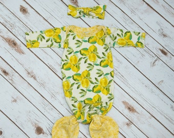Lemon and Yellow Floral Mermaid Baby Gown & Headband Set