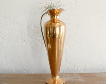 Vintage Rustic Copper Pitcher, Copper Bud Vase, Decorative Pitcher, Copper Vessel, Decorative Vase, Farmhouse Table Decor, Cottage Decor
