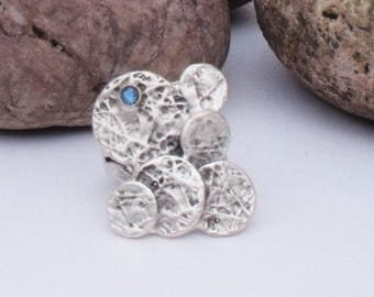 Silver Plated Adjustable Ring with Light Blue Swavorski Crystal